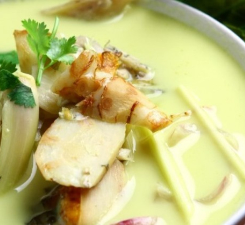 Tom Kati Pla-Chon (Coconut Soup with Snake Head Fish)